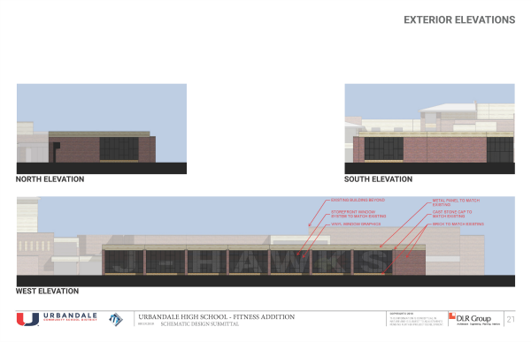 UHS Fitness Center Exterior Elevations site