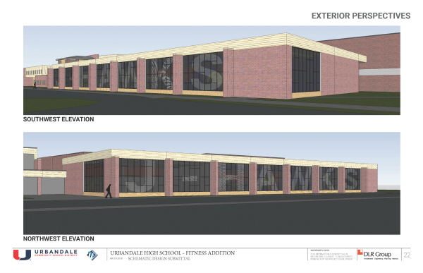UHS Fitness Center Northwest and Southwest Exterior Perspectives site