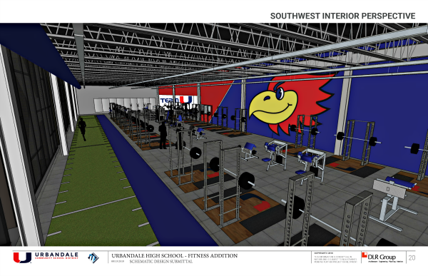 UHS Fitness Center Southwest Interior Perspective site